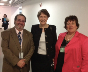 Dr Michael Cronin (IFSW, New York), Keynote speaker Helen Clark and Fiona Robertson at Social Work Day in the United Nations.